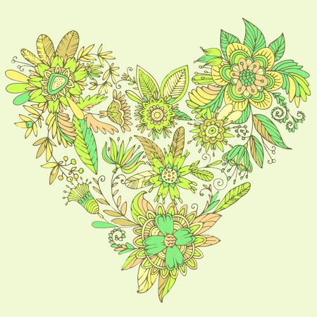 tendrils: Heart of drawn vector flowers. Elegant flowers intertwined in a beautiful heart shape. High detail flower buds, petals, shoots and tendrils.