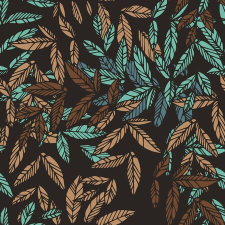 emphasis: Floral seamless pattern. Pink leaves intertwined with burgundy and green. Black background, dramatic contrast. Can be used for curtains, wallpaper, pattern fills, web page background, surface textures.