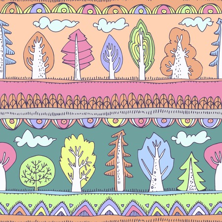 contrasting: Bright colorful cheerful pattern of abstract elements and cute cartoon trees. Contrasting bright colors. Can be used for curtains, wallpaper, web page, surface textures, childrens clothes