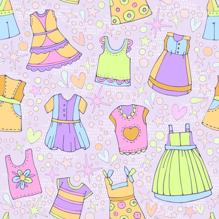used clothes: Vector fashionable beautiful clothes for little girls. Can be used for curtains, wallpaper, pattern fills, web page background, surface textures.