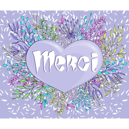 merci: Inspirational phrase Merci framed by flowers. Cold colors. Handmade calligraphy.