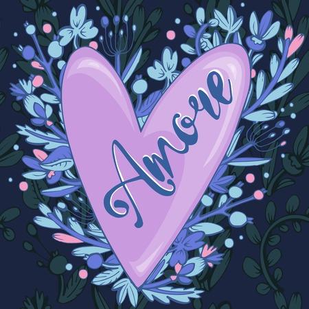 ... Die Inschrift Liebe Auf Italienisch, Im Herzen Der Baum Blumen.  Handgemachte Kalligraphie, Vector. Party Einladungen Für Valentinstag Oder  Hochzeit
