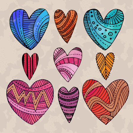 drow: Set of watercolor hearts with hand drow graphic patterns on them. Vector illustration. Illustration
