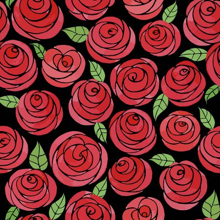 Seamless pattern with watercolor cute roses. Cute cartoon red roses with leaves. Juicy flowers on a black background Illustration