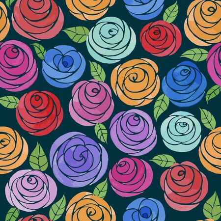 Seamless pattern with watercolor cute roses. Cute cartoon multicolored roses with leaves. Juicy flowers on a dark background