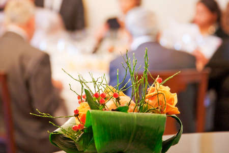 Floral decoration in a restaurant Stock Photo