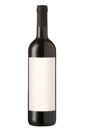 Red wine bottle isolated with blank label. Clipping path included (outline and label)