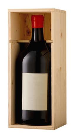 Rode wijn magnum fles in houten doos met blanco label. Het knippen inbegrepen weg.