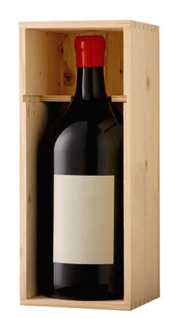 Red wine magnum bottle in wooden box with blank label. Clipping path included.