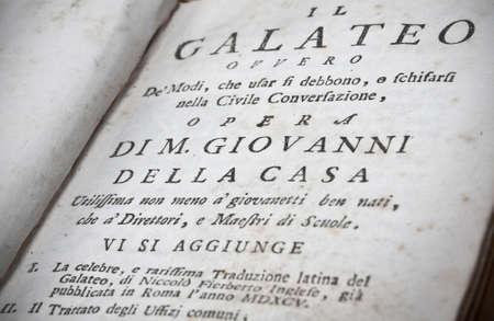 Title page of Italian old book ( Il Galateo di Monsignor Giovanni Della Casa). Archivio Fotografico