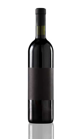 Red wine bottle isolated with blank label