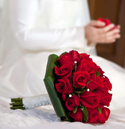 Bridal Bouquet of red roses. Stock Photo