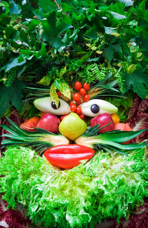 Human face of vegetables and fruits, in the manner of Arcimboldi or Arcimboldo.