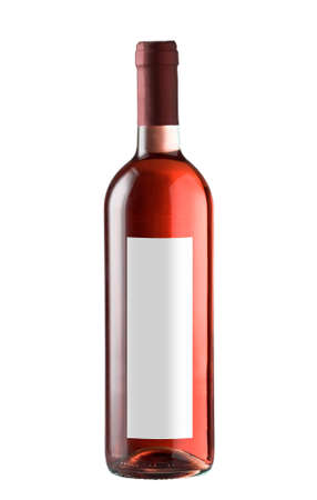 Wine bottle isolated with blank label for your text or logo. photo
