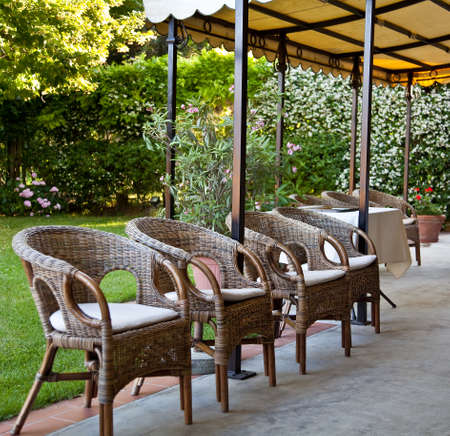 Bamboo chairs in garden