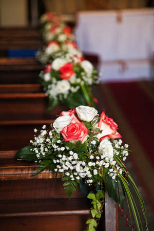 Bouquets  in Catholic Church before a wedding.