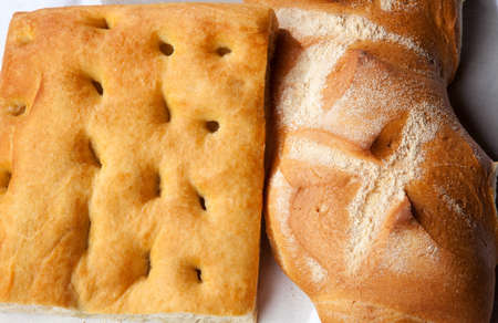 Close up genoese focaccia and bread photo