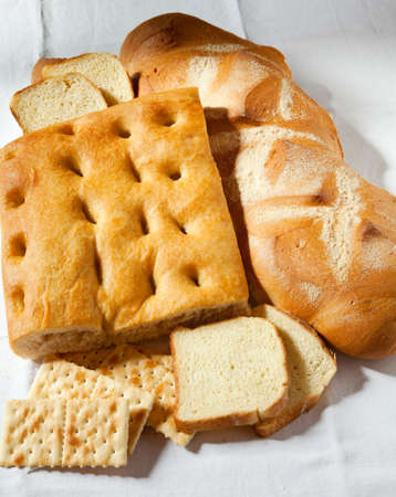 genoese: Close up genoese focaccia, bread and crackers