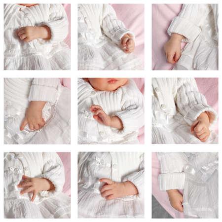 battesimo: Collage di nove foto di mani del bambino.