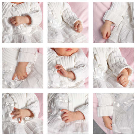 Collage of nine photo of baby hands.