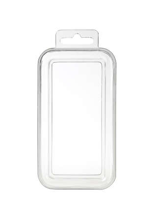 Plastic transparent container with clipping-path