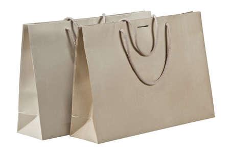 Twee boodschappentassen geà ¯ soleerd op wit Stockfoto