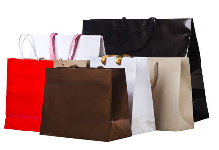 Several shopping bags, isolated on white background