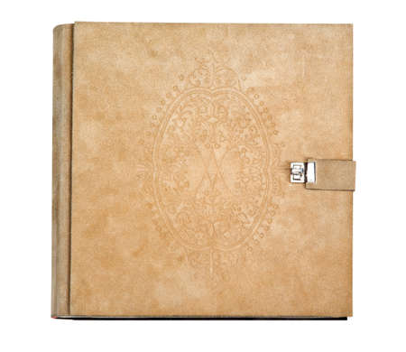Old photo album on white (with clipping path) photo
