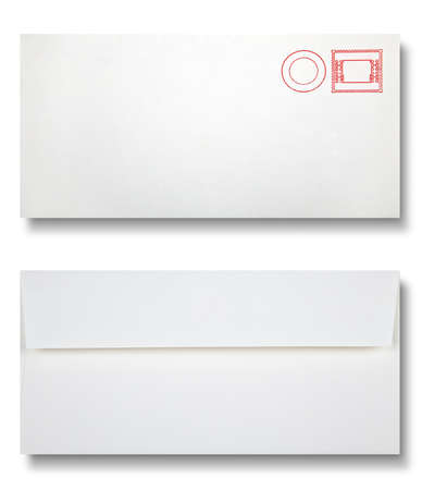 Close-up of two envelopes on white