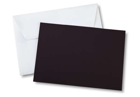 Brown card on white envelope with shadow