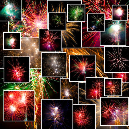 A pile of photographs of fireworks arranged into a background