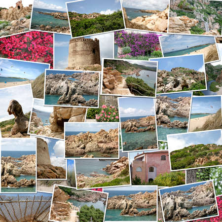 A pile of photographs of Sardinia (Italy) arranged into a background photo