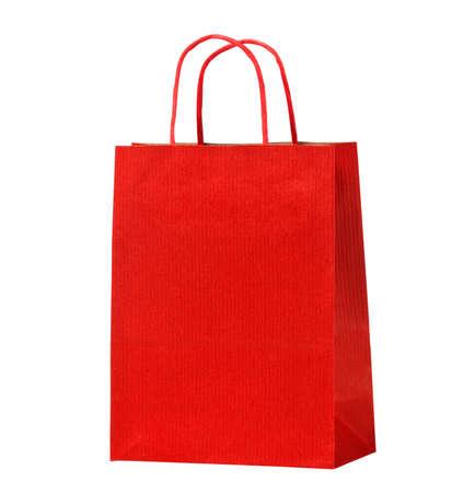 Red shopping bag on white.