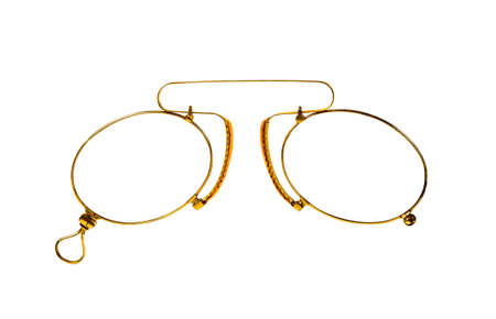 Golden glasses (pince-nez) on white  with clipping paths.