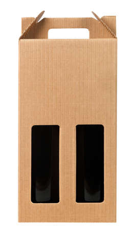Wine gift box with two bottle on white. Stok Fotoğraf