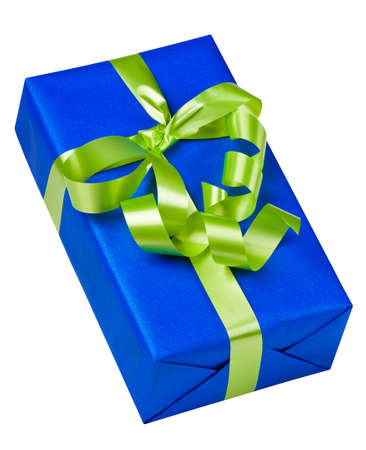 Blue box with green ribbon on white photo
