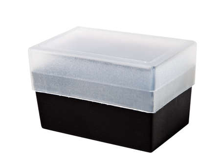 Plastic transparent box on white. photo