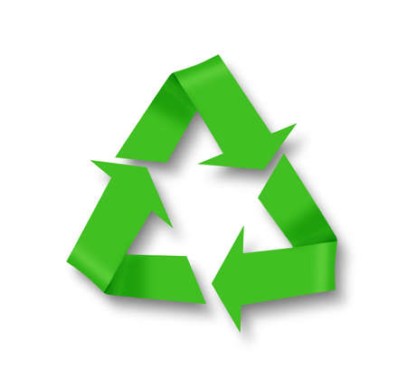 enviromental: Recycle symbol on white wit shadow