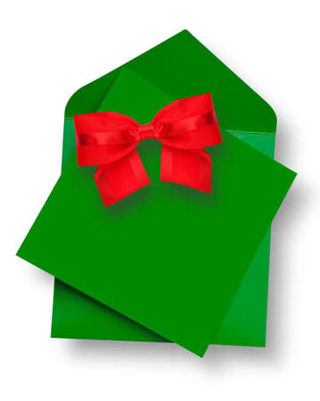 post card: Green card and envelope with shadow and red bow