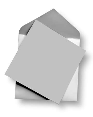 post card: Silver card and envelope with shadow