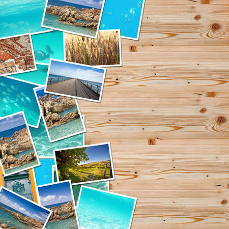A pile of photographs with space for your logo or text. Stock Photo