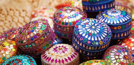 indian wedding: Jewel boxes. Stock Photo