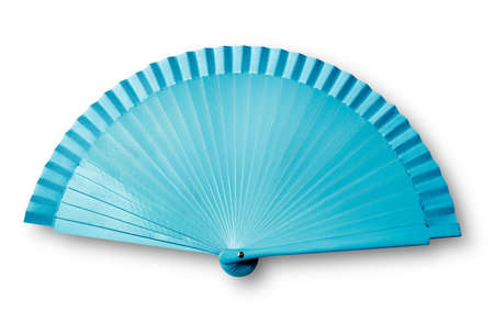 Blue fan on white with shadow  photo