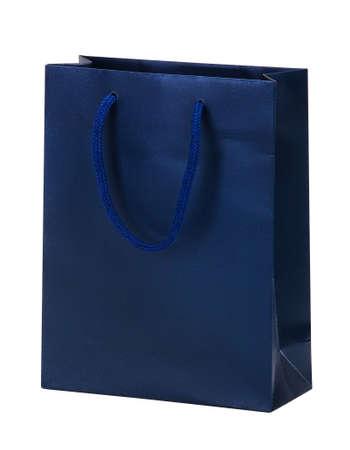 Blue shopping bag on white. photo