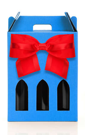 wine gift: Wine gift box with red ribbon