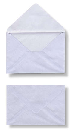 Close-up of two envelopes on white photo