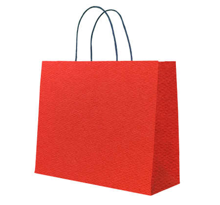 Red paper shopping bag. photo