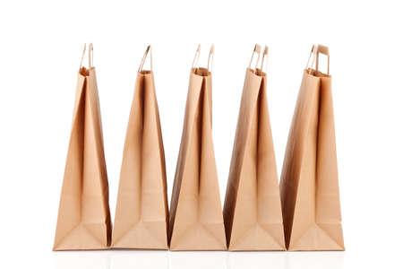 Verschillende beige papieren boodschappentassen. Stockfoto