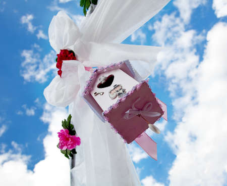 hanged woman: Little pink house and white ribbon.