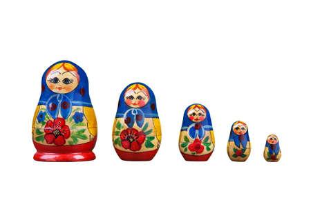 big 5: Five matrioshkca dolls on white. Stock Photo